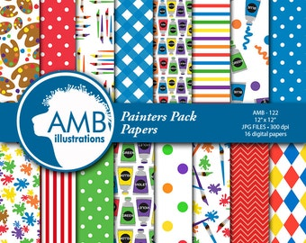 Painting digital papers, Painting scrapbook papers, Painting supplies papers, Paint papers, commercial use, AMB-122