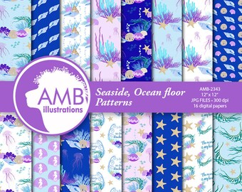 Ocean paper, Under the sea papers, Coral reef papers, Scuba dream, Nautical paper, beach paper,  AMB-2343
