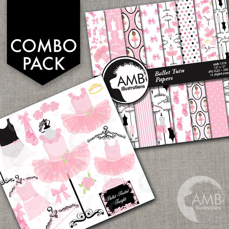 COMBO Ballerina Tutus in Pink Clipart and Digital Papers Pack image 0
