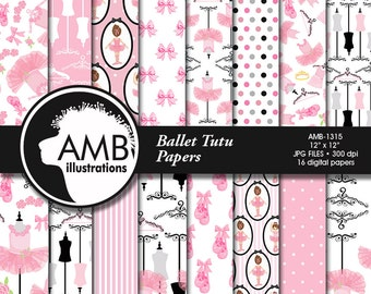 Ballet digital papers, Ballerina scrapbook papers, Ballet scrapbooking paper, Ballet Recital, Ballet tutus, commercial use, AMB-1315