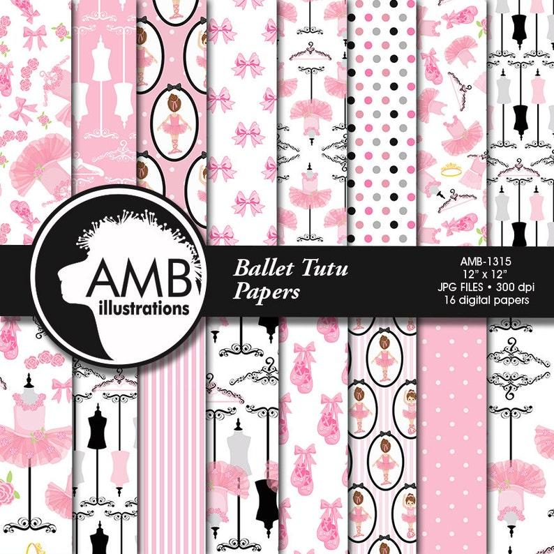 Ballet digital papers Ballerina scrapbook papers Ballet image 0