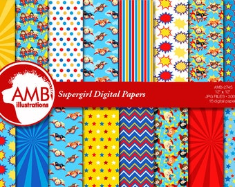 Superhero Girls scrapbook paper, super hero digital papers, superhero baby papers, superhero pattern, AMB-2745