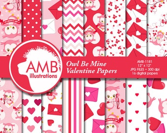 Valentine Digital Papers, Heart Digital Papers, Valentines Day Papers, Commercial Use, Scrapbook, Backgrounds, AMB-1181