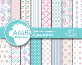 Hot Air Balloon digital papers, Floral clipart, Wedding clipart, Shower clipart, Balloon clipart, digital clip art, AMB-2431
