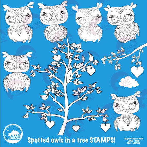owl stamp owl digital stamps spotted owls coloring page etsy