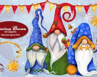 Christmas gnomes clipart watercolor, Gnome house clipart, Gnomes clipart, Christmas elf clipart, AMB-1543