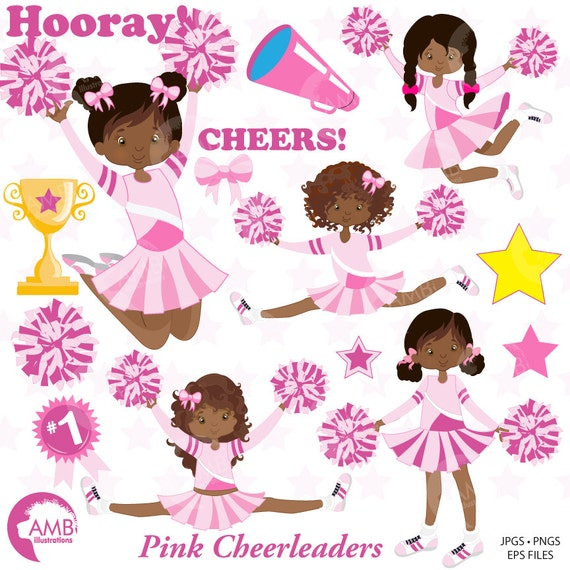 Cheerleader Clipart Pink Cheerleaders Clip Art Sports Team Etsy