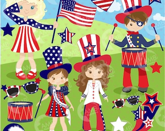 Fourth of July clipart, Kids Clipart, Independence Day clipart, 4th of July clipart, commercial use, digital clip art, AMB-923