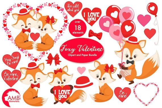 Valentine Clipart Fox Clipart Valentine Foxes Heart Etsy