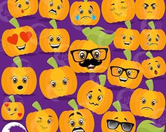 Halloween emoji clipart, Pumpkin emoji Clipart, Pumpkin Faces, pumpkin emoticons, Commercial Use, AMB-2489