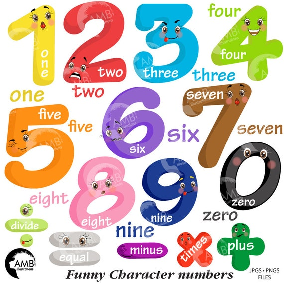 funny emoticon numbers clipart number faces counting numbers etsy rh etsy com numbers clipart for kids numbers clip art images