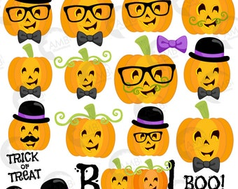 Halloween clipart, Pumpkin Clipart, Pumpkin Faces, guy Pumpkin Clipart, Commercial Use, AMB-2466