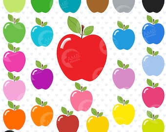 Apple Clipart, Apples Clip Art, Multi-Colored Apples, Solid colorful apples, Classroom Clipart, Commercial Use, AMB-139