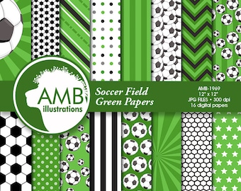 Sports Digital Paper, Soccer Papers and Backgrounds, Football Field Papers, Soccer Scrapbook Papers, Commercial Use, AMB-1969