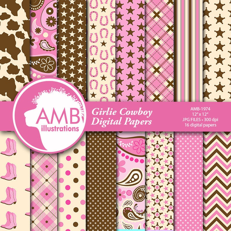Cowgirl Digital Papers Cowboy Digital Paper Cowgirls Pink image 0