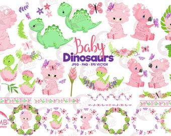 Dinosaur clipart, baby dinosaur, Girl dinosaurs, Baby dino clipart, nursery clipart, dinosaur for babies, Commercial Use, AMB-2421