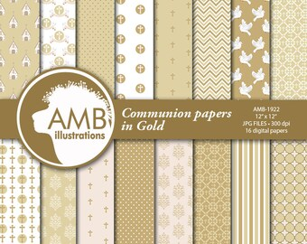 Christian Digital Papers, Boy or Girl First Communion Papers, Gold papers, Church, Gold Religious paper, Comm-Use, AMB-1922