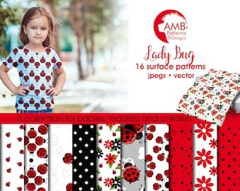 Ladybug digital papers, Red ladybug papers, Insects, Sweet ladybug papers, polkadot paper, ladybug papers, comm-use, AMB-1928