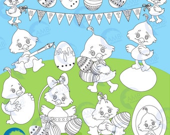 Easter Stamps, Easter Chick stamps, Easter egg digital stamp, Easter stamps, coloring page, black and white line, AMB-1817