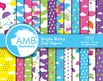 Rainy day digital paper, weather paper, rainy day images, rainy scrapbook papers, commercial use, AMB-904