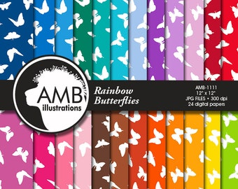 Butterfly Digital Papers, Butterlies in Rainbow Colors, Pastel Colors paper, spring scrapbook papers, commercial use, AMB-1111