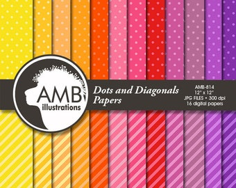 Dots and Diagonal Stripes digital papers,  polkadot papers, ornament papers, digital download, AMB-814