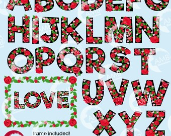 Valentine Letters, Valentine Floral Alphabet clipart Pack, Letters A to Z, upper and lower case, commercial use, AMB-2714