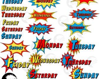 Days of the Week Clipart, Superhero week Day clipart, Superhero bursts, Back to school, AMB-2027