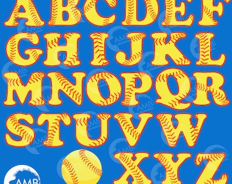 Softball Letters Clipart, Sports Clipart, Softball Alphabet Clipart, Sports Letters, Commercial Use, AMB-819