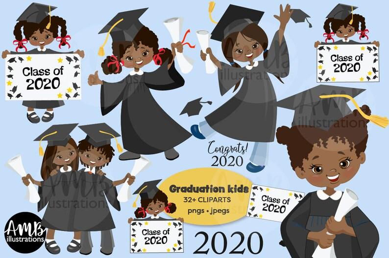 Graduation Girls in black clipart African American graduation image 0