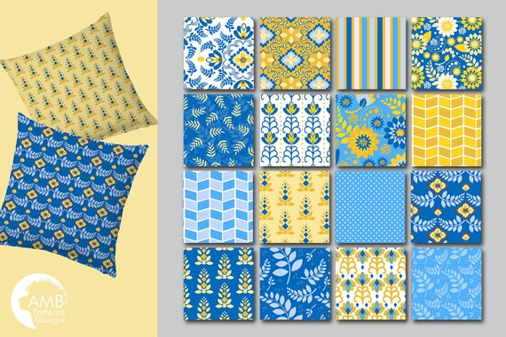 Blue Floral Digital Papers Shabby Chic Papers Blue Vintage Flowers Blue Digital Papers Blue And Yellow Floral Pattern Amb 1813 By Ambillustrations Catch My Party