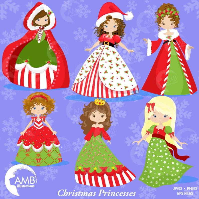 Christmas Princess.Christmas Princess Princess Clipart Christmas Christmas Clipart Vector Graphics Digital Clipart Instant Download Amb 1123