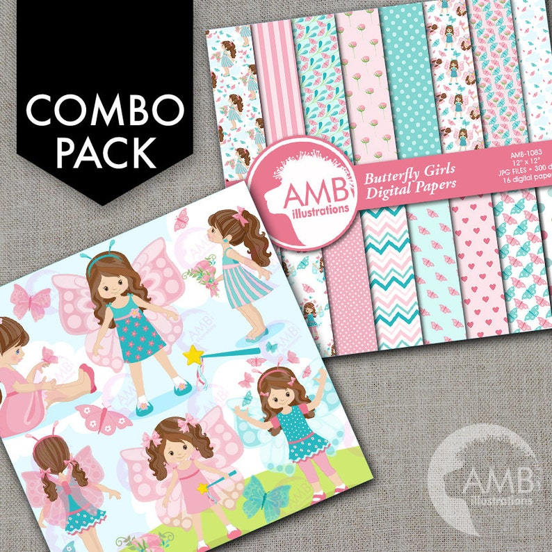 COMBO Butterfly Clipart and Digital Papers Little Girl image 1