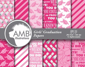 Graduation digital papers, Grad papers, Graduation scrapbook papers, commercial use, digital download, scrapbook, AMB-183