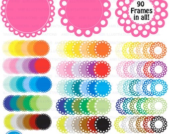 Circle frames, MEGA Pack, round labels, 90 labels in all, scalloped labels, commercial use, digital clip art, AMB-1138