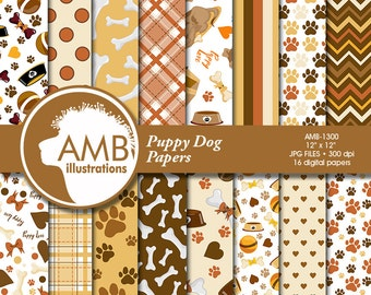 Puppy Dog Digital Papers, Dog digital backgrounds, Paws pattern papers, invites, card making and crafts, Comm-Use, AMB-1300