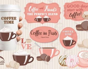 Coffee clipart, Coffee time clipart, Coffee in Paris clipart, Coffee cups, Coffee words,  digital clip art, AMB-1592