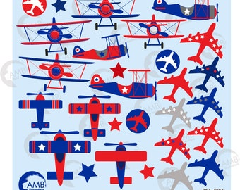 Airplane and biplane clipart,  Red white and blue planes, Patriotic planes, Plane clipart, Jet Airplane clipart, AMB-2199