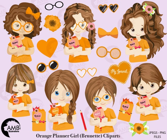 Planner Girl Clipart Planner Girls In Orange Planner Clipart Journaling Clipart Journal Girl Clipart Amb 2183 By Ambillustrations Catch My Party