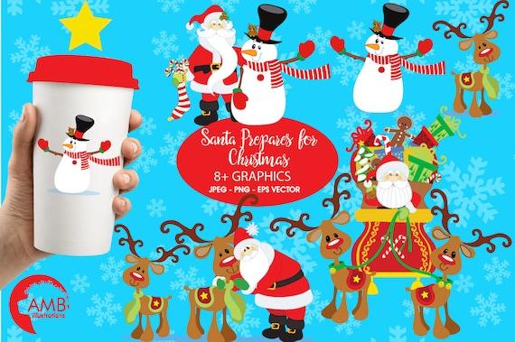 Santa Claus Clipart Weihnachtscliparts Weihnachtsmann Und Etsy