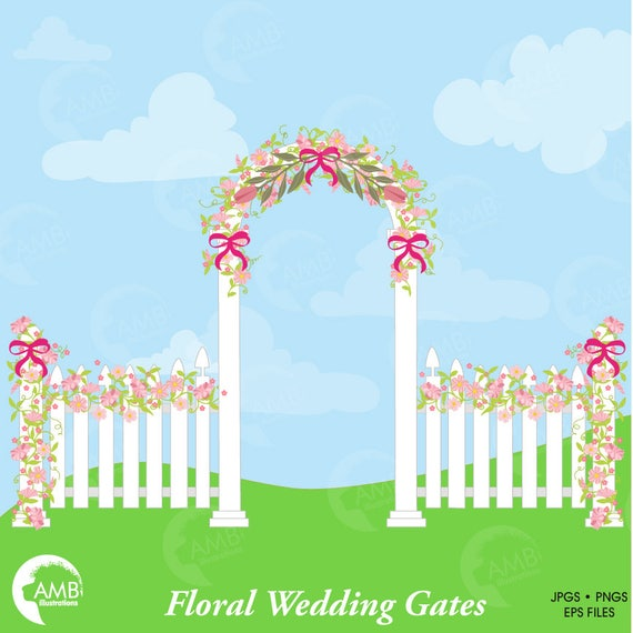 Rustic Wedding Clipart Floral Gate With Flowers Elements Commercial Use AMB 941 From AMBillustrations On Etsy