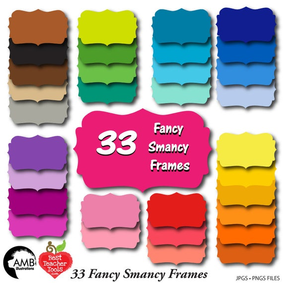 Frames Clipart Fancy Bright Colored Frames Scrapbooking Etsy