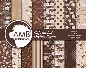 Coffee Digital Papers, Coffee Bean Papers, Coffee names paper, Chocolate brown papers, cafe au lait papers, comm. use, AMB-1563