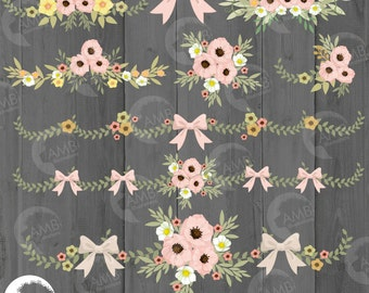 Wedding clipart, Rustic Wedding clipart, Bridal shower, Floral embellishments, floral borders, clipart, shabby chic wedding, AMB-1313