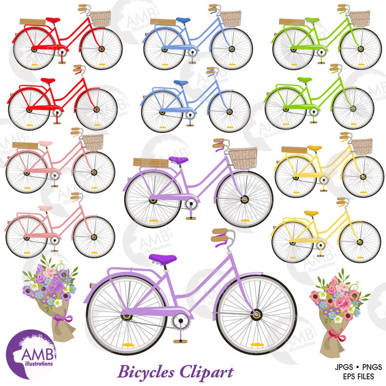 Wedding Bicycle clipart Bicycle clipart Bicycle and Flowers image 1