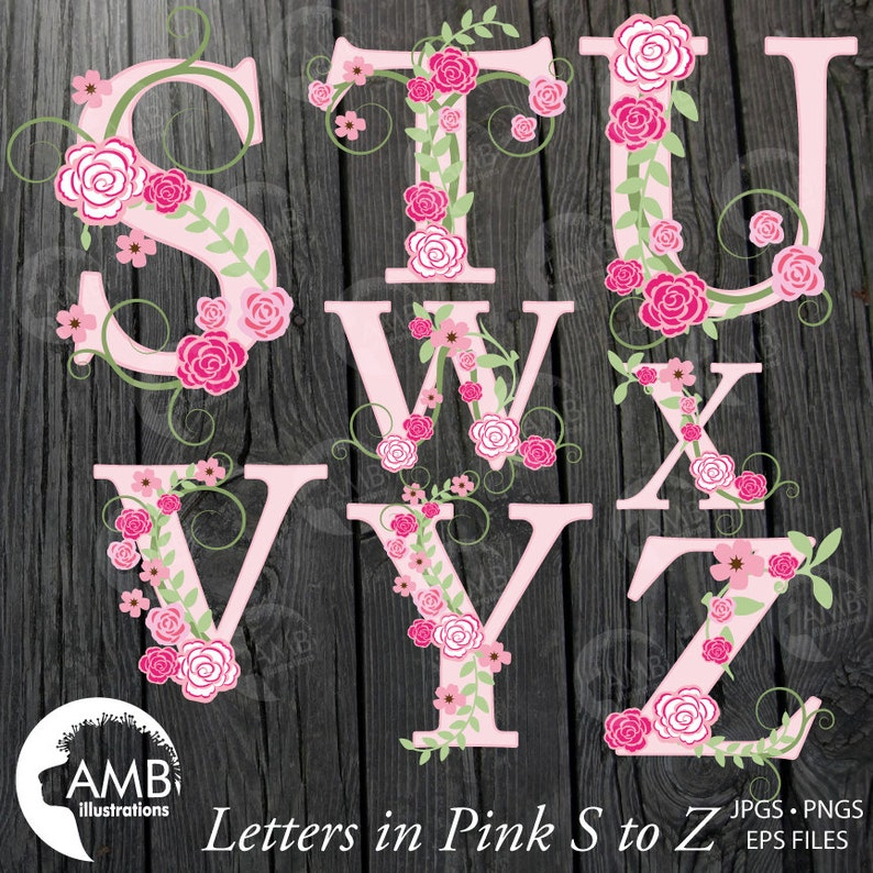 TRIO Floral Alphabet clipart Pack Letters A to Z Shabby Chic Wedding Pink Roses Letters Amb-1624 commercial use Floral clipart