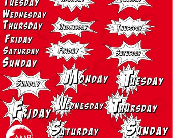Days of the Week Digital Stamps, Superhero Day Stamps, coloring page, black and white line, Black Line Letters, Back to school, AMB-1092