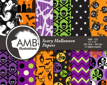 Halloween digital paper, Pumpkin papers, Halloween backgrounds, Skull and Crossbones pattern, Scrapbooking, Commerical Use, AMB-152