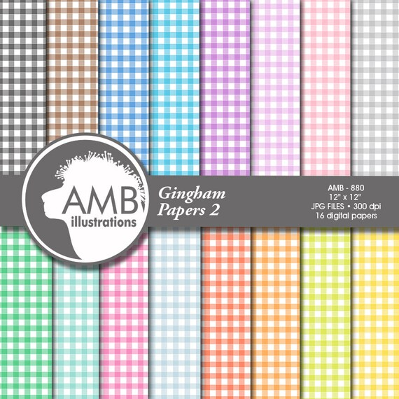 Gingham Digital Papers Pastel Papers Checkered Papers Gingham
