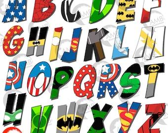 Superhero Letter clipart, Alphabet clipart, Superhero Letter clipart with bursts, School Clipart, commercial use, AMB-2109